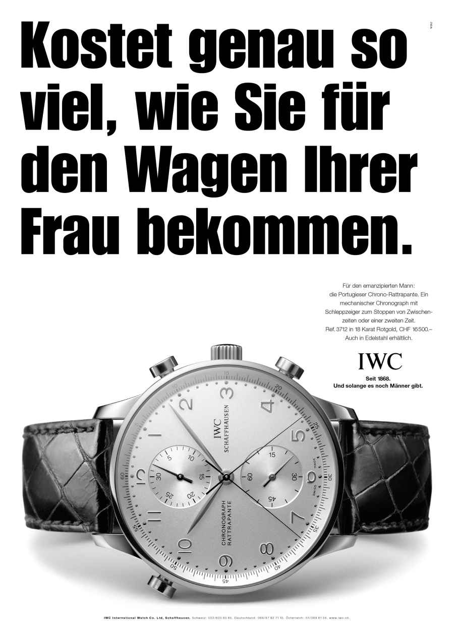 iwc werbung wirkt. Black Bedroom Furniture Sets. Home Design Ideas
