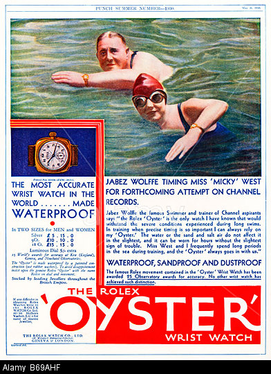 Rolex Oyster 1930 ad for the Swiss waterproof wristwatch with Jabez Wolffe training Micky West to swim the Channel. Image shot 1930. Exact date unknown.
