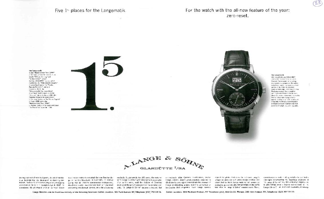 A. Lange & Söhne – Werbung im Wandel der Zeit – 1994 bis2010