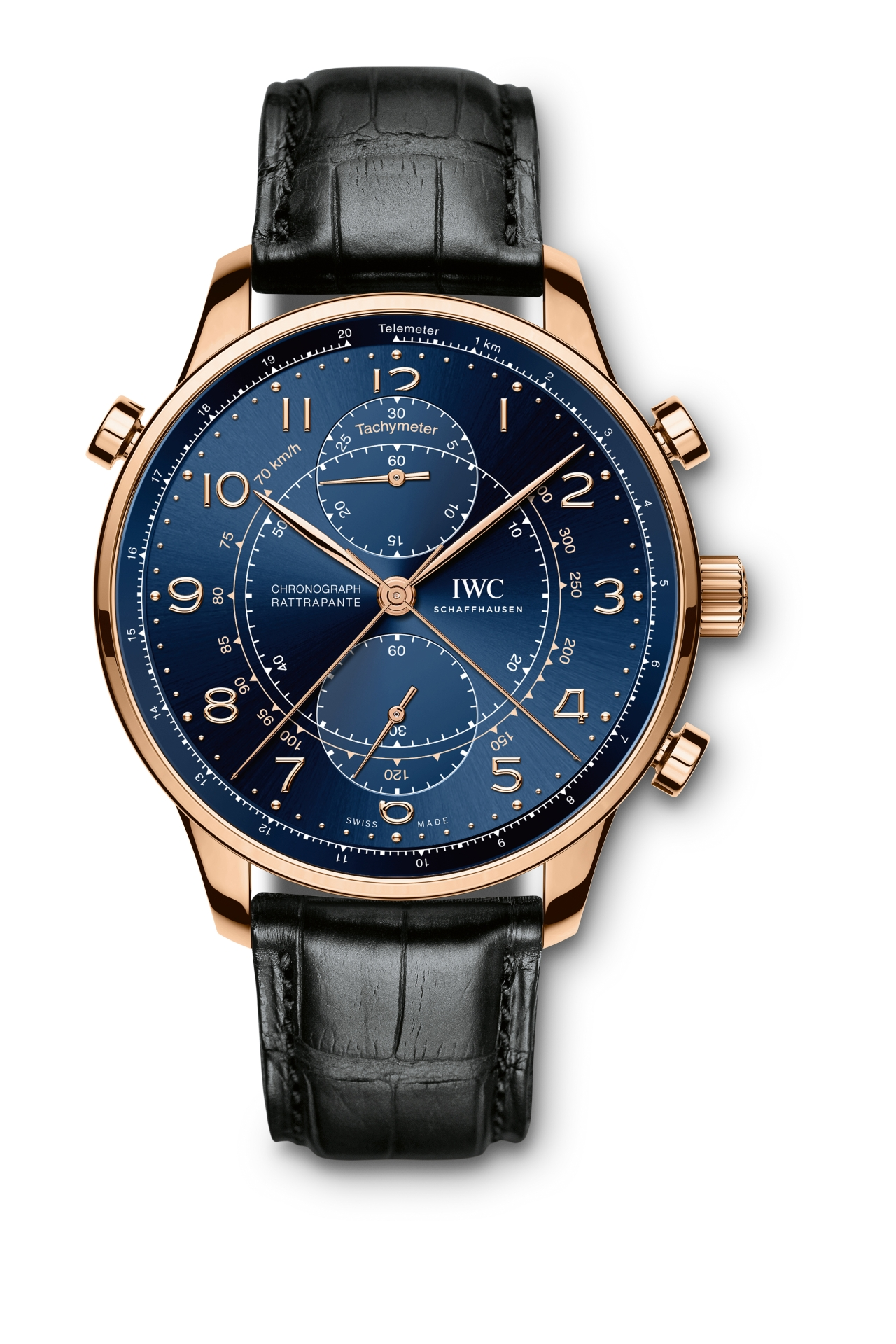 """To mark the opening of the new boutique in Milan, IWC Schaffhausen presented the Portugieser Chronograph Rattrapante Edition """"Boutique Milano"""" (Ref. IW371215) in June 2016. The 100-piece limited-edition watch is secured to the wrist by a hand-finished black alligator leather strap and is driven by a hand-wound 76240-calibre movement with a power reserve of 44 hours. (PPR/IWC)"""
