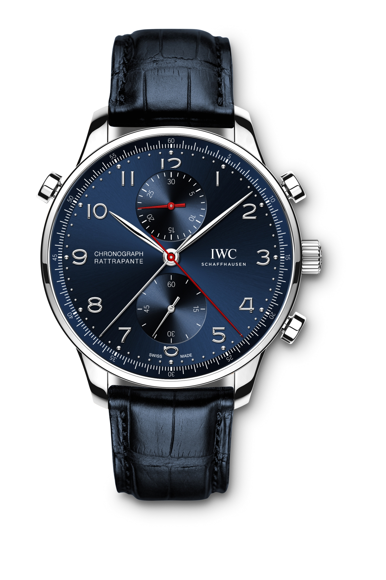 "The Portugieser Chronograph Rattrapante Edition ""Boutique Munich"" (Ref. IW371217) is a 250-piece limited edition. The timepiece is driven by a hand-wound 76240-calibre movement with a power reserve of 44 hours. (PPR/IWC)"